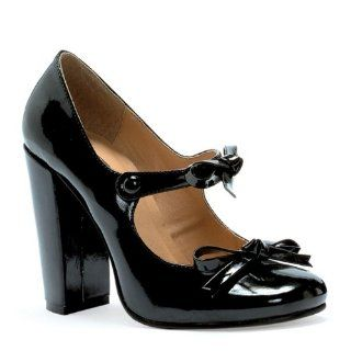 Sexy Mary Jane Shoes High Heel Chunky Heel Single Sole Black Shoes