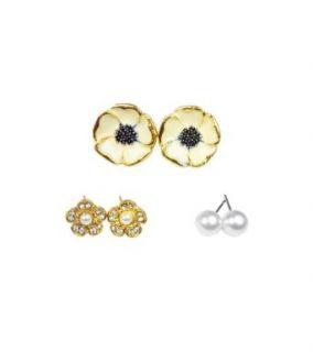 TdZ Golden Flowers & Pearl Multiple Piercing Earring set