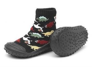 Black Dinosaur Skidders Sock Shoes, size 4: Shoes