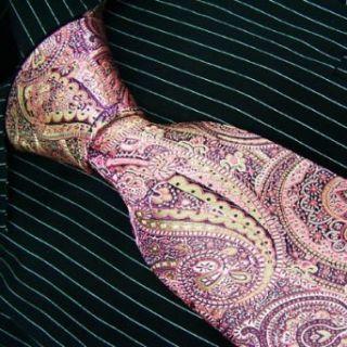 Brand New B. Boss Purple Pink Gold Paisleys Silk Mens Neck