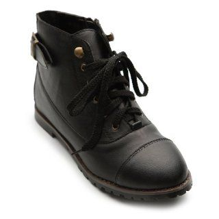 Military Army Chic Buckles Flat Low Heels Lace Up Black Boots Shoes