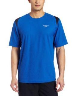 Brooks Mens Rev Short Sleeve Shirt,Kodiak/Black/White,X