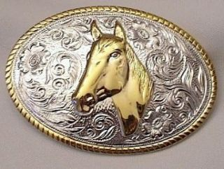 HORSE HEAD STERLING SILVER/GOLD PLATED BELT BUCKLE