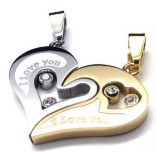 Couple Stainless Steel Necklace Gold & Silver Pendant I