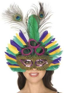 Womens Mardi Gras Peacock Feather Costume Mask Clothing