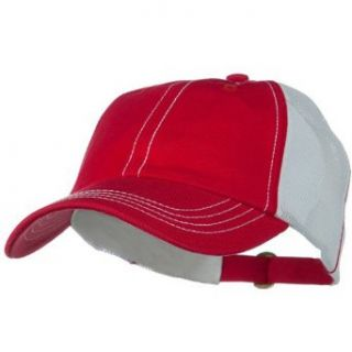 Unstructured Cotton Twill Mesh Cap   Red White W36S64A