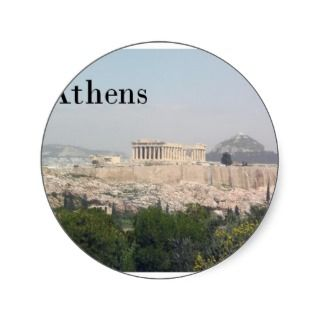 Greece Athens Acropolis Round Sticker