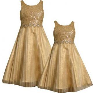 Bonnie Jean Little Girl 4 6X GOLD SEQUIN RHINESTONE