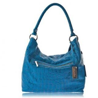 ARCADIA Italian Made Blue Embossed Leather Designer