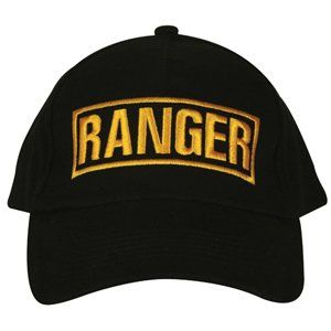Black Army Ranger Embroidered Ball Cap   Adjustable Hat