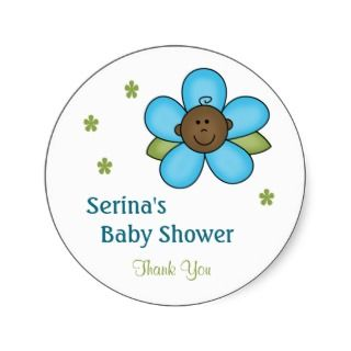 Baby Shower Stickers, African American Baby Shower Sticker Designs