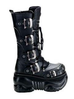 Black Gothic Buckle Platform Boot   11 Clothing