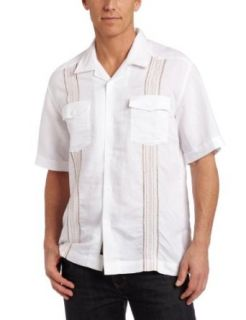 Cubavera Mens Short Sleeve Two Pocket Stitching Shirt
