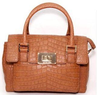 Croc Embossed Leather Medium Shoulder Satchel Bag Purse Mocha Shoes