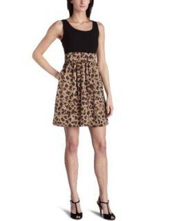 Ellen Tracy Womens Printed Mock Two Piece Dress,Brown,8