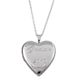 Sterling Silver 18 inch Engraved Graduate 2010 Heart Locket Necklace