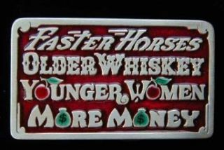 Faster Horses Older WhiskeyColored Belt Buckle