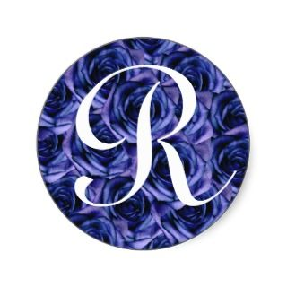 Monogram Letter R Blue Roses Sticker