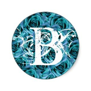 Monogram Letter B Blue Roses Sticker