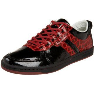 Recreation Mens Dicoco Low Top Sneaker,Black/Red,13 D US Shoes
