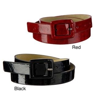 Steve Madden Womens Patent Leather Buckle Belt