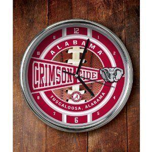 Alabama Crimson Tide Round Chrome Wall Clock Sports