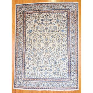 Persian Hand knotted Ivory Mashad Wool Rug (97 x 13)