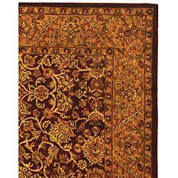 Taj Mahal Burgundy/ Gold Wool Rug (96 x 136)