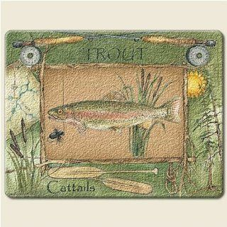 TROUT fishing FISH LARGE 15 inch TEMPERED GLASS CUTTING