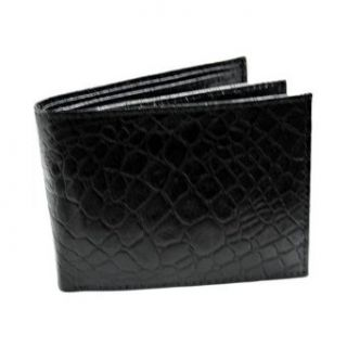 Alligator Style Black Leather Bi Fold Wallet Clothing
