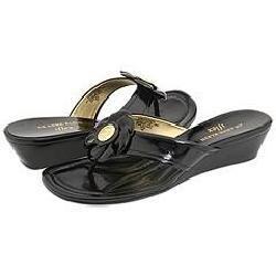 AK Anne Klein Mackenzie Black Patent Sandals