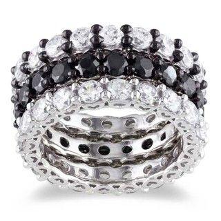 Miadora Sterling Silver Stackable Cubic Zirconia 3 piece Eternity Ring