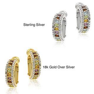 Glitzy Rocks 18k Gold overlay/Silver Gemstone Semi hoop Earrings