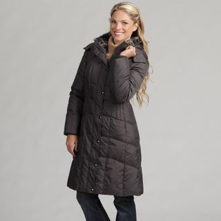 London Fog Womens Gunmetal Down Parka
