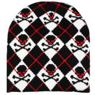 Argyle Black White & Red Beanie Cap Hat With Skulls