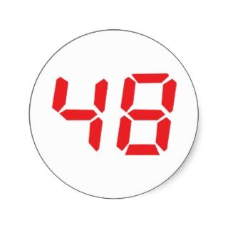 48 fourty eight red alarm clock digital number sticker