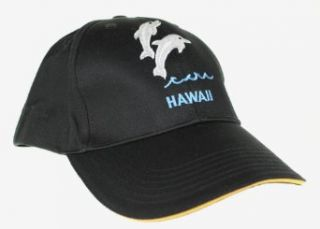 Hawaii Theme Cap Hats, Silver Dolphin Hawaii, Black