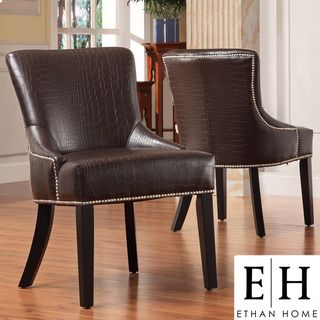 ETHAN HOME Westmont Brown Faux Alligator Print Chair (Set of 2