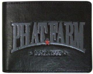 Phat Farm Black Passcase Bifold Wallet w/Debossed Logo