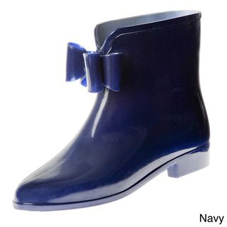 Henry Ferrera Womens Solid Rubber Rain Booties with Bow Detail
