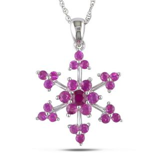 Gold 1ct TGW Pink Sapphire Fashion 17 inch Necklace