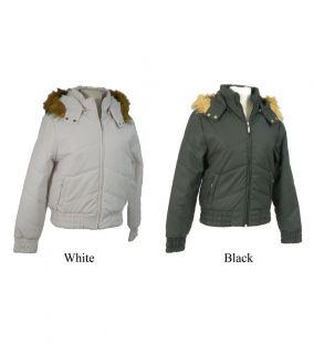 La Mode Womens Faux Fur Hooded Bomber Jacket