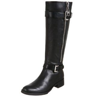 BCBGirls Womens Moca Flat Motorcycle Boot,Black,5 M US Shoes