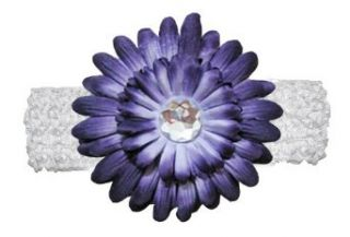 Purple Jewel Gerbera Daisy Flower White Crochet Headband