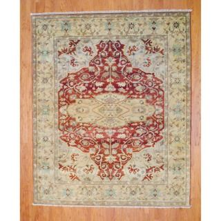 Indo Hand knotted Rust/ Gold Serapi Wool Rug (8 x 10)