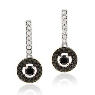 Sterling Silver 2ct TDW Black Diamond Disc Dangle Earrings