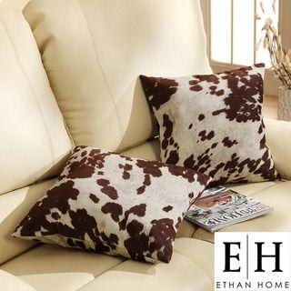 ETHAN HOME Decor Cow Hide Print Pillow (Set of 2)