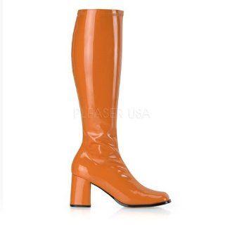 3 inch Block Heel GOGO Boots, Side Zip Orange Str Patent: Shoes