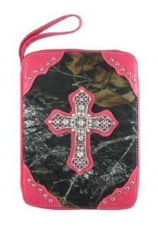 Camouflage Print Bible Cover Rhinestone Cross Pink Trim
