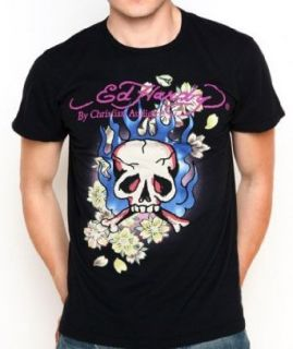 Ed Hardy Mens Senior Flaming Skull T Shirt Black